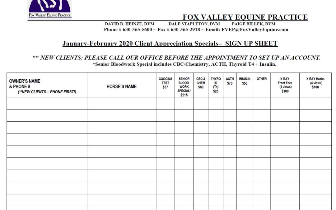 Sign-up Sheet 2020 Client Specials January/February